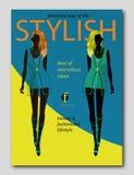 Abstrakt kvinnakontur i moderiktig stil Design för modetidskrifträkning royaltyfri illustrationer