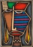 Abstrakt kvinnamaskering royaltyfri illustrationer