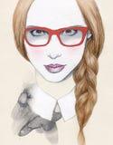 Abstrakt kvinnastående med exponeringsglas skärm för efterföljd för bakgrundsdatormode Arkivbild