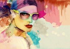 Abstrakt kvinnastående med exponeringsglas skärm för efterföljd för bakgrundsdatormode Fotografering för Bildbyråer