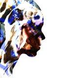 Abstrakt kvinnlig framsida i profil Royaltyfri Fotografi