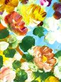 Abstrakt kwitnie, kreatywnie abstrakcjonistyczna ręka malujący tło royalty ilustracja