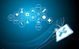 Abstrakt läkarundersökning för vektor och teknologibegreppsbakgrund stock illustrationer