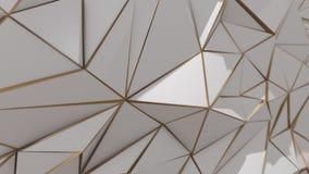 Abstrakt låg poly triangelbakgrund för vit och för guld stock video