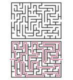Abstrakt labyrint/labyrint med tillträdeet och utgången Arkivfoton