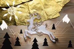 abstrakt landskap av hjortar i bergen Royaltyfria Foton