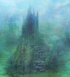 Abstrakt landskap med den gamla slotten Royaltyfria Bilder