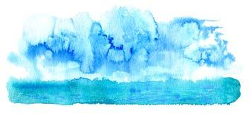 Abstrakt landskap med havet och moln Royaltyfria Bilder