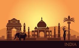 Abstrakt landskap med sikten av Indien och en dansa kvinna royaltyfri illustrationer