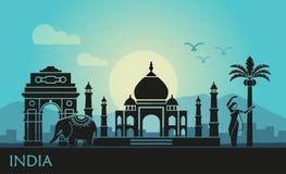Abstrakt landskap med sikten av Indien och en dansa kvinna vektor illustrationer