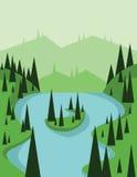 Abstrakt landskapdesign med gröna träd och den flödande floden, sikt från överkanten till en ö, lägenhetstil Fotografering för Bildbyråer
