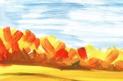 abstrakt liggande Höstskog under blå himmel och fält royaltyfri illustrationer
