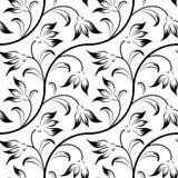 Abstrakt lilja, blom- svart isolerat seamless Arkivfoto