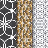 Abstrakt linjär blomma eller blomma med sidamodellen Monokrom stilfull textur Ren design för den målade tygtapeten Royaltyfri Bild