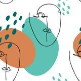 Abstrakt linjär kontur av den mänskliga framsidan modern affisch Grafisk stil för Minimalism royaltyfri illustrationer