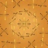 Abstrakt ljus beige bakgrund för vektor med guld- fractalmodeller och beståndsdelar av hjärtor Royaltyfria Bilder