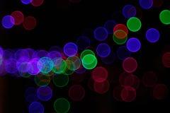 Abstrakt ljus Bokeh bakgrund Suddighetsbild av defocusljus på natten Fotografering för Bildbyråer