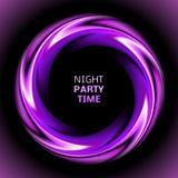 Abstrakt ljus - lilor virvlar runt cirkeln på svart Royaltyfri Fotografi