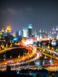 Abstrakt ljus och färg av staden och trans. på nigh Arkivbilder