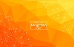 Abstrakt ljus orange teknologibakgrund - förbindelselinjer med prickar Geometrisk ljus Polygonal bakgrundsmolekyl och communi stock illustrationer