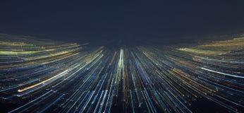 Abstrakt ljus stadshastighetsrörelse fotografering för bildbyråer