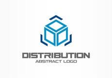 Abstrakt logo för affärsföretag Designbeståndsdel för företags identitet Lastask och pilar omkring, leverans, export royaltyfri illustrationer