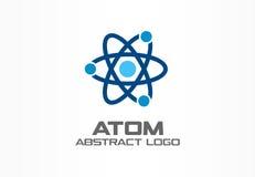 Abstrakt logo för affärsföretag Designbeståndsdel för företags identitet Oändlighetsatomenergi, omlopp förbinder, kärn- stock illustrationer