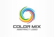 Abstrakt logo för affärsföretag Designbeståndsdel för företags identitet Segment för färgcirkel blandar, den runda spektrumlogoty vektor illustrationer