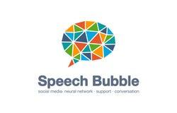 Abstrakt logo för affärsföretag Det sociala massmedia marknadsför, knyter kontakt, anförandebubblan, meddelandelogotypidé Dialogc stock illustrationer