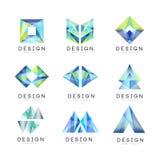 Abstrakt logodesignuppsättning, för emblemvektor för ädelsten geometriska illustrationer stock illustrationer