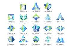 Abstrakt logodesignuppsättning, för emblemvektor för crystal ädelsten geometriska illustrationer vektor illustrationer