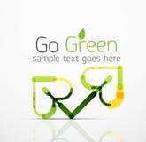 Abstrakt logoidé för vektor, ecoblad, naturväxt, grön begreppsaffärssymbol Idérik logotypdesignmall Arkivfoton