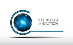 Abstrakt logojordklot för vektor med modellen för teknologiinnovationbegrepp arkivbild