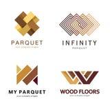 Abstrakt logomall för vektor Logodesign för parketten, laminat, durk, tegelplattor royaltyfri illustrationer