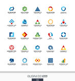 Abstrakt logouppsättning för affärsföretag Teknologi bankrörelse, finansbegrepp Industriellt utveckling, marknadsföring royaltyfri illustrationer