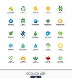 Abstrakt logouppsättning för affärsföretag Ekologiväxt, bio natur, träd, blommabegrepp Miljön gräsplan, återanvänder Fotografering för Bildbyråer
