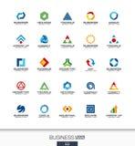 Abstrakt logouppsättning för affärsföretag Teknologi bankrörelse, finansbegrepp Industriellt utveckling, marknadsföring Royaltyfri Foto