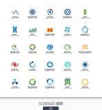Abstrakt logouppsättning för affärsföretag Vetenskaps-, utbildnings-, fysik- och kemikaliebegrepp Dna atom, molekyl som är bio Arkivfoton