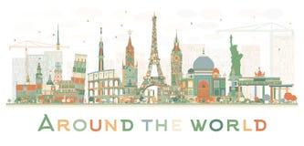 Abstrakt loppbegrepp runt om världen med berömd international vektor illustrationer