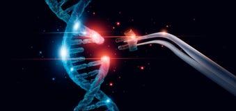 Abstrakt lysande DNAmolekyl Genetisk och genbehandligsbegrepp arkivbild