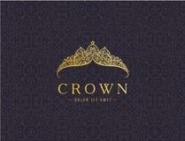 Abstrakt lyx, kunglig guld- design för vektor för företagslogosymbol royaltyfri illustrationer
