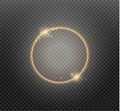 Abstrakt lyxig guld- cirkel på genomskinlig bakgrund Effekt för strålkastare för vektorljuscirklar ljus Guld- färgrunda vektor illustrationer