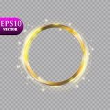 Abstrakt lyxig guld- cirkel på genomskinlig bakgrund Effekt för strålkastare för vektorljuscirklar ljus Guld- färgrunda royaltyfri illustrationer