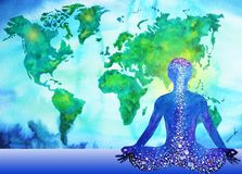 Abstrakt mänsklig bakgrund för världskarta för makt för meditatorchakrauniversum Arkivfoto
