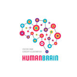 Abstrakt mänsklig hjärna - illustration för begrepp för mall för affärsvektorlogo Färgrikt tecken för idérik idé Infographic symb Royaltyfri Foto