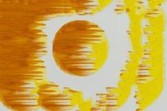 Abstrakt målad apelsin- och gulingvattenfärg Bakgrunds- eller begreppsbild 1 Arkivbild