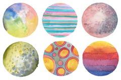 Abstrakt målad bakgrund för vattenfärg cirkel paper textur Är Fotografering för Bildbyråer
