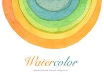 Abstrakt målad bakgrund för vattenfärg cirkel Textu Royaltyfria Bilder