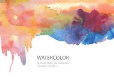 Abstrakt målad bakgrund för vattenfärg fläck paper textur Isolator arkivfoton