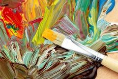 Abstrakt målarfärg och målarpensel Royaltyfri Fotografi